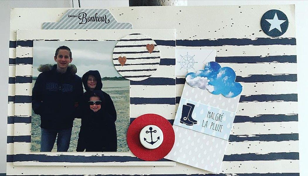 poster avec photo d'enfants à la mer