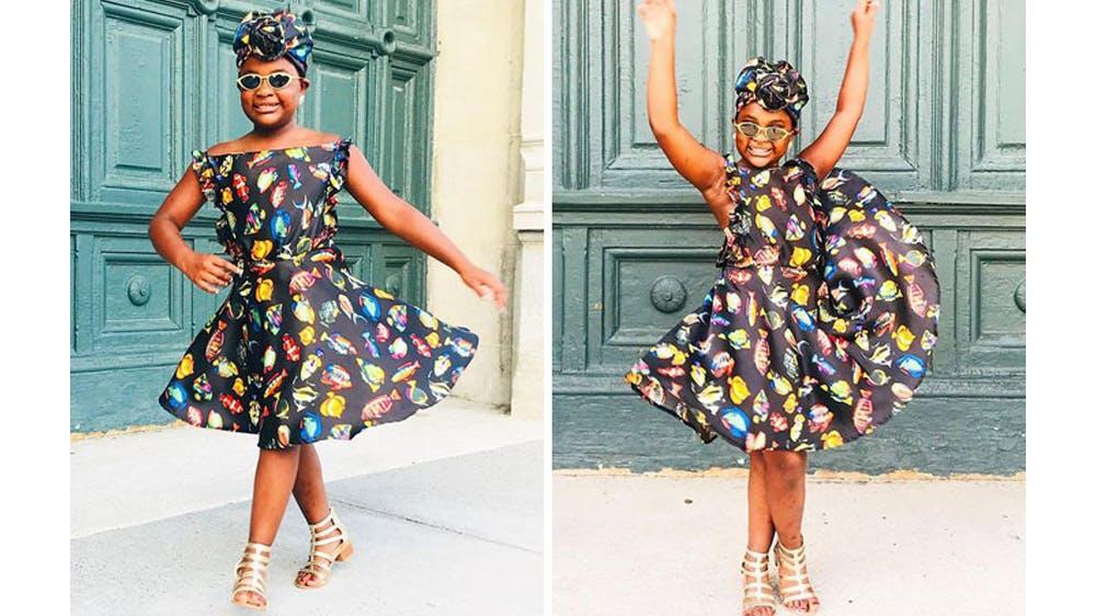 Une tenue pleine de petites poissons colorés pour sa fille Ava par Michael Gardner