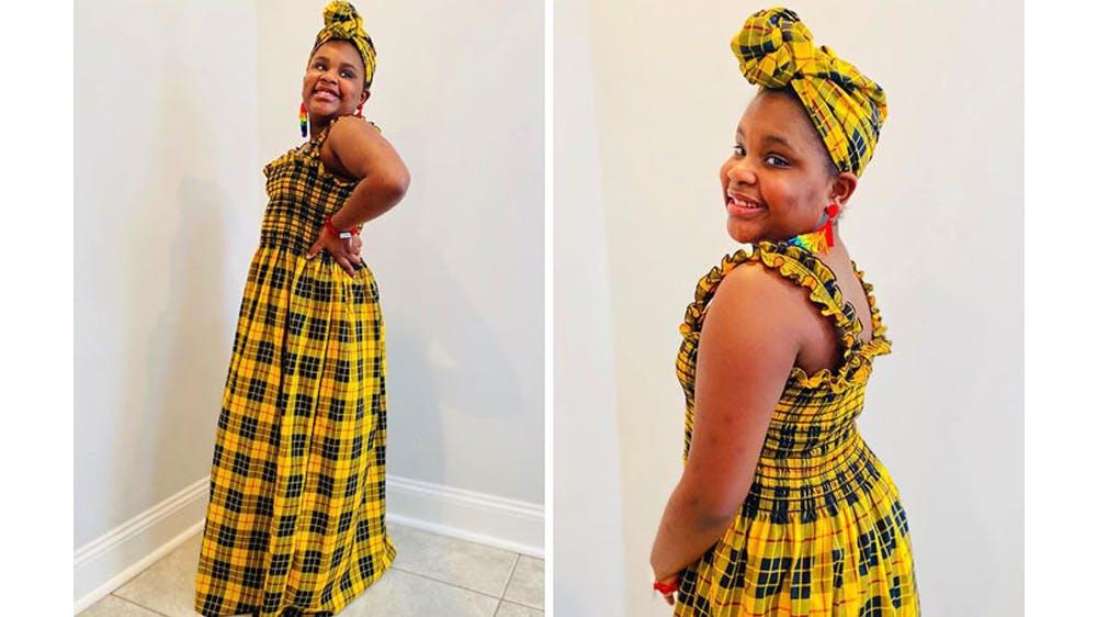 Une tenue des antilles pour sa fille Ava par Michael Gardner