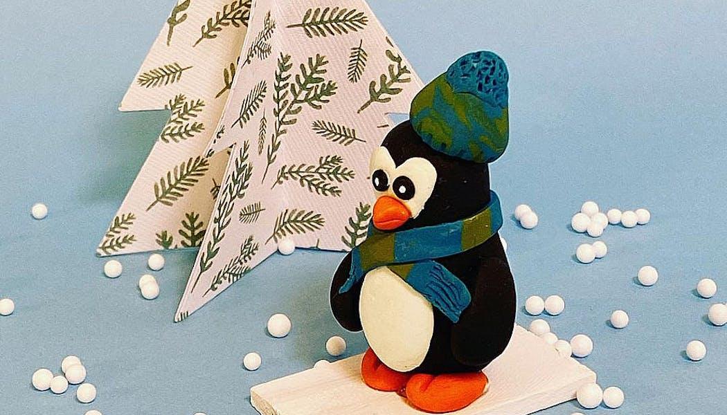 pingouin avec bonnet et écharpe en pâte Fimo