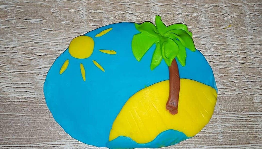 Une île tropicale en Fimo