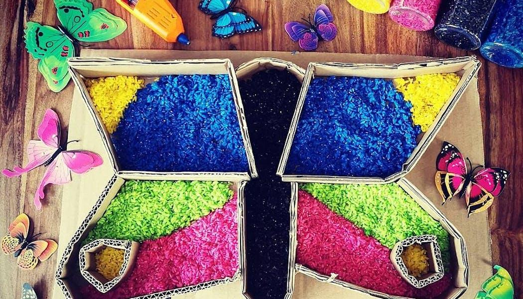 un papillon en riz coloré