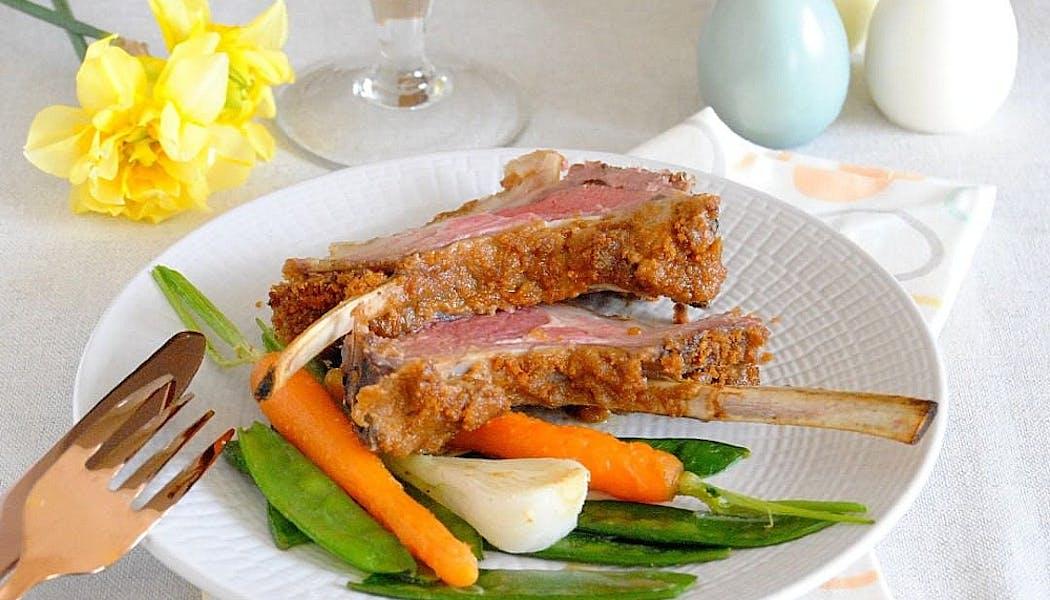 carré d'agneau en croûte de foie gras et spéculoos