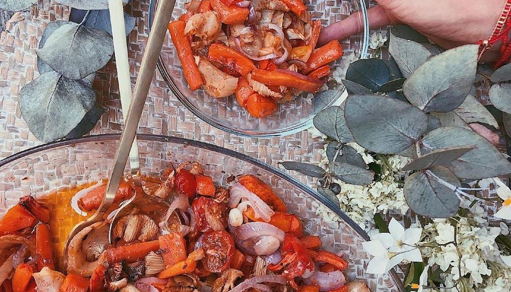 Carottes, fenouils et tomates rôtis au miel