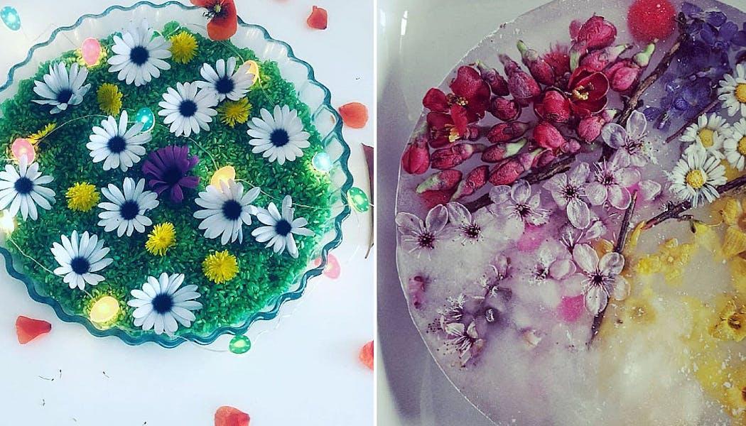 bacs sensoriels avec des fleurs