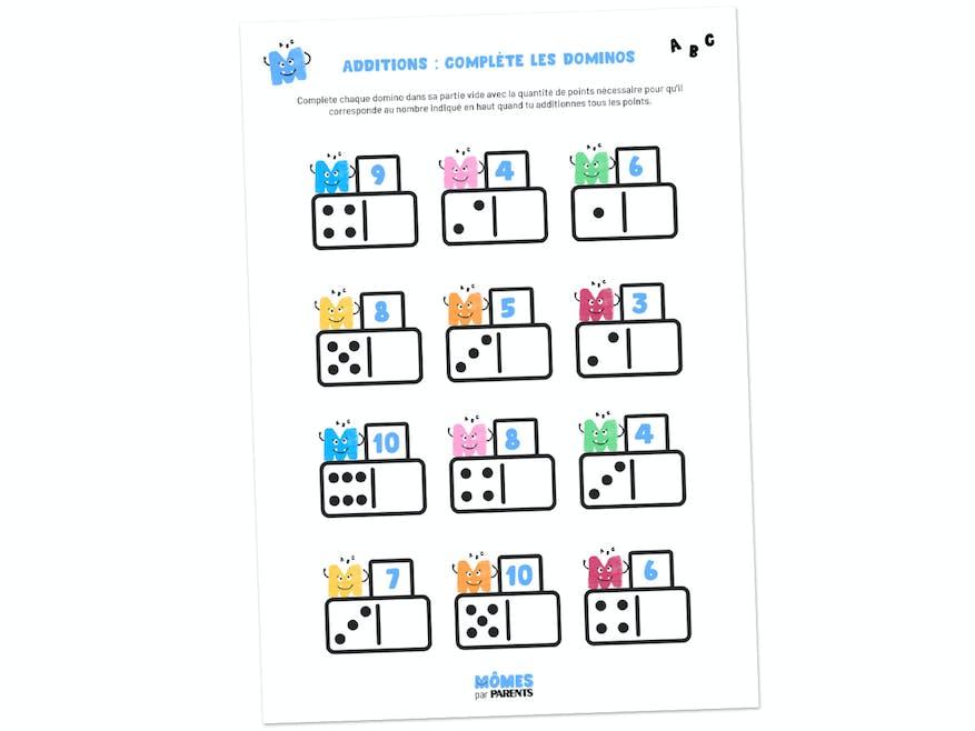 Fiche à imprimer - Additions : complète les dominos
