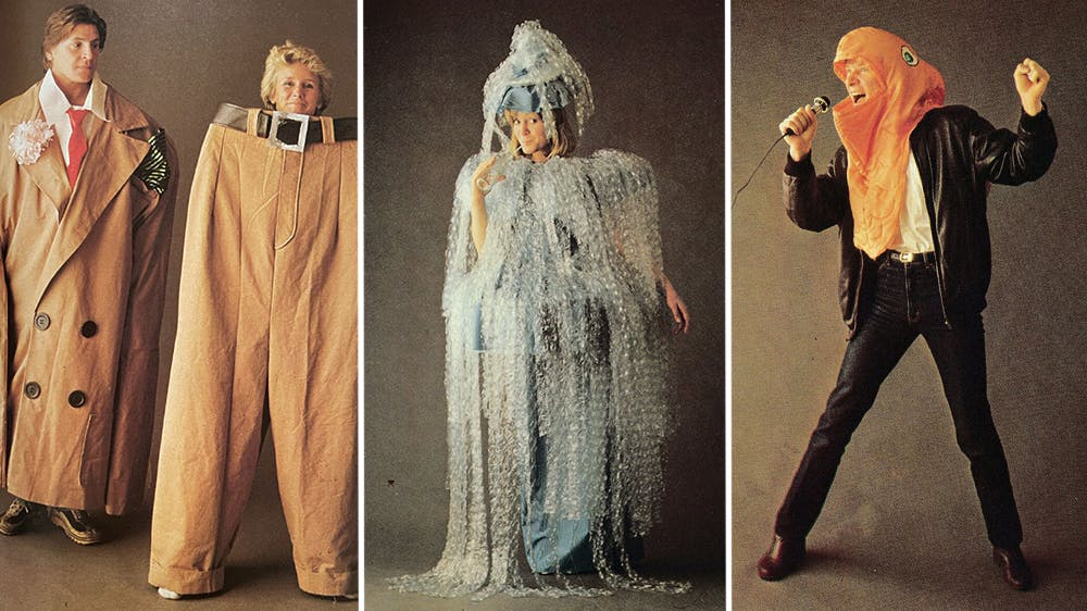 déguisement La veste et le pantalon de costume, la méduse et le poisson rockeurannées 80