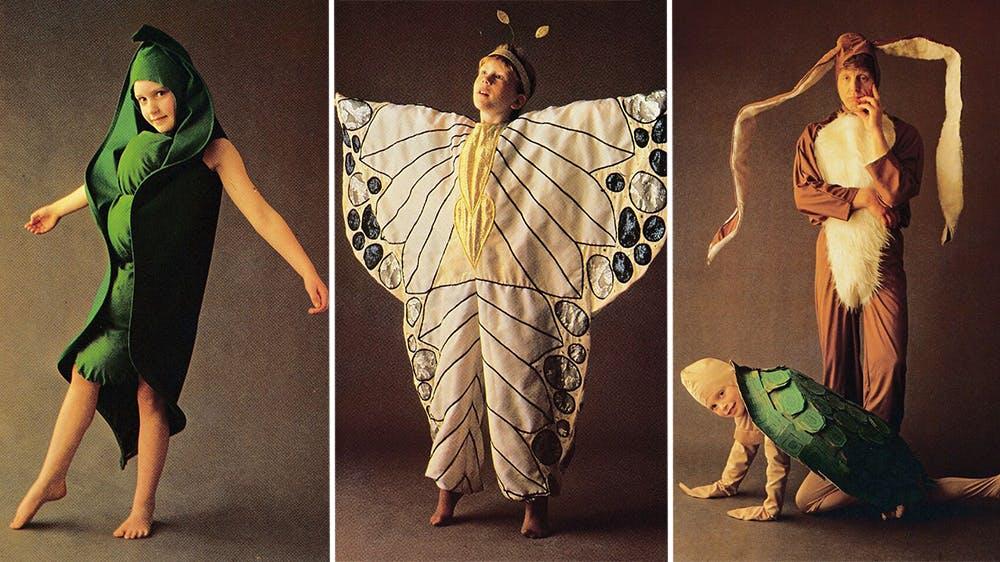 déguisement Le petit pois, le papillon, le lièvre et la tortue années 80