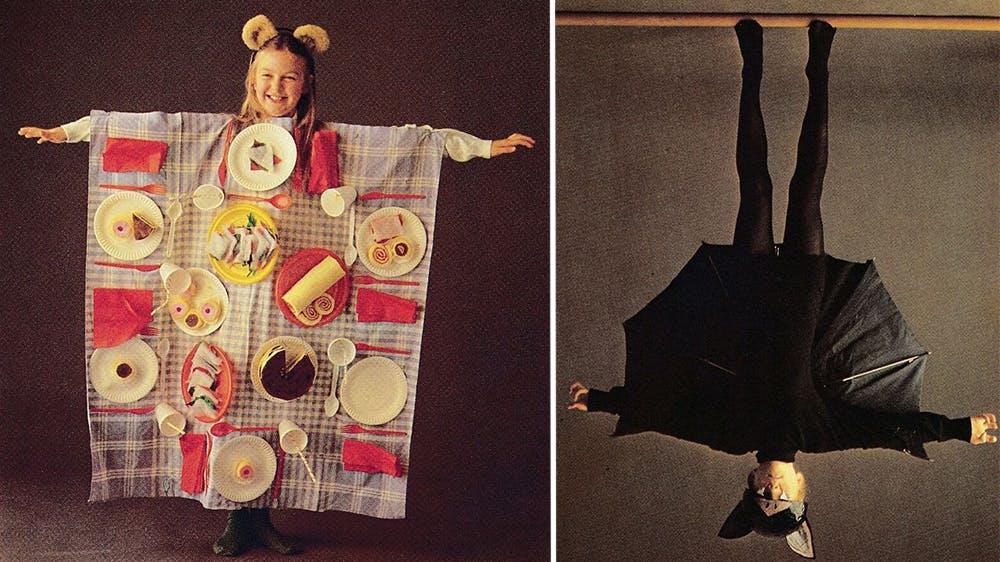 déguisement La table de pique-nique et la chauve-souris parapluie années 80