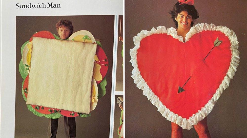 déguisement Mr sandwich et Mme Cœur années 80