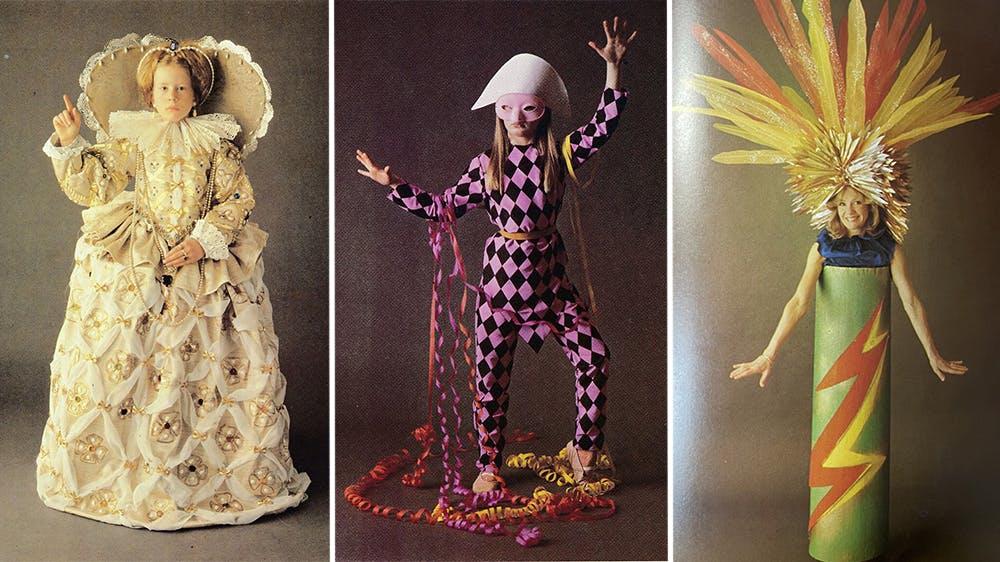 déguisement La reine, l'arlequin et le pétard années 80