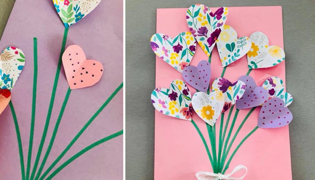 carte avec un bouquet de cœurs