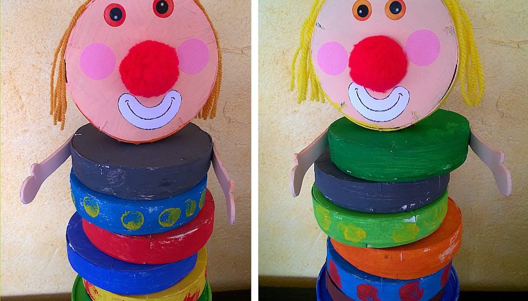 clowns réalisés avec des boîtes de camembert