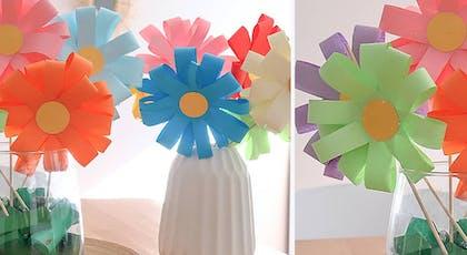 bouquet multicolore en papier