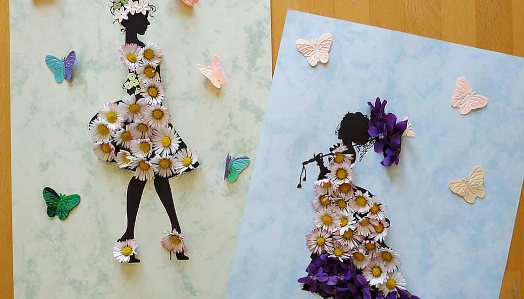 silhouettes décorées avec des pâquerettes