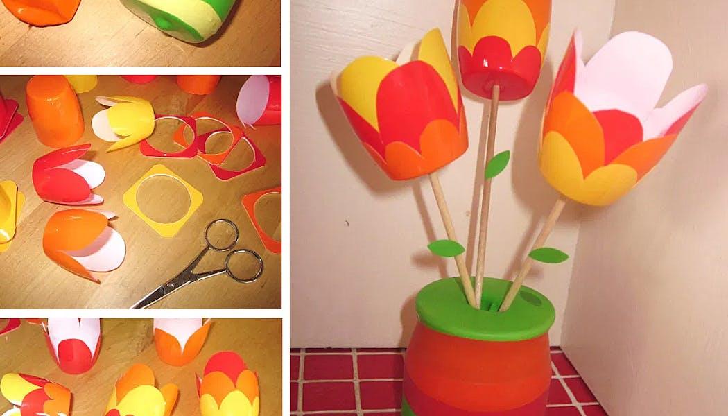 bouquet de tulipes fait avec des petits suisses