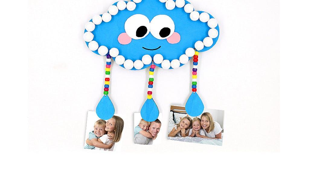 porte-photos en forme de nuage fait en carton