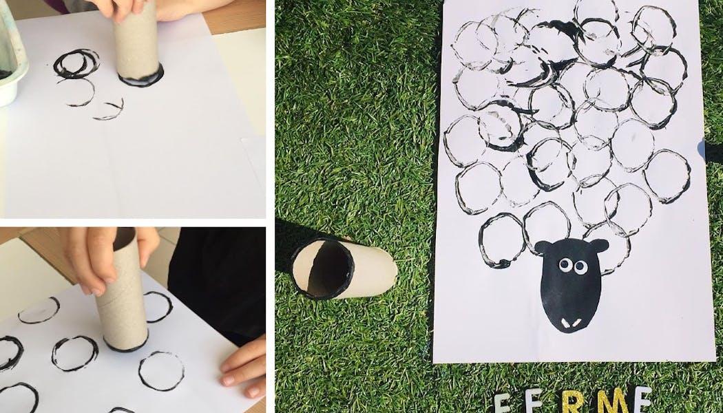 peinture représentant un mouton fait avec des rouleaux de papier wc