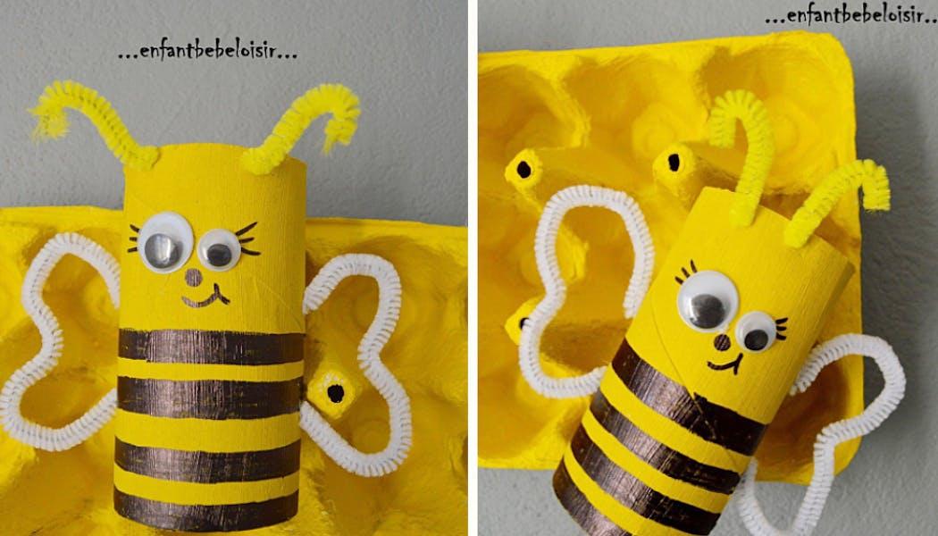 Une ruche fabriquée avec une boîte d'œufs et ses petites abeilles