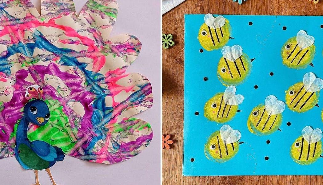 paon et abeille faits à partir de peinture appliquée pard es billes ou une balle
