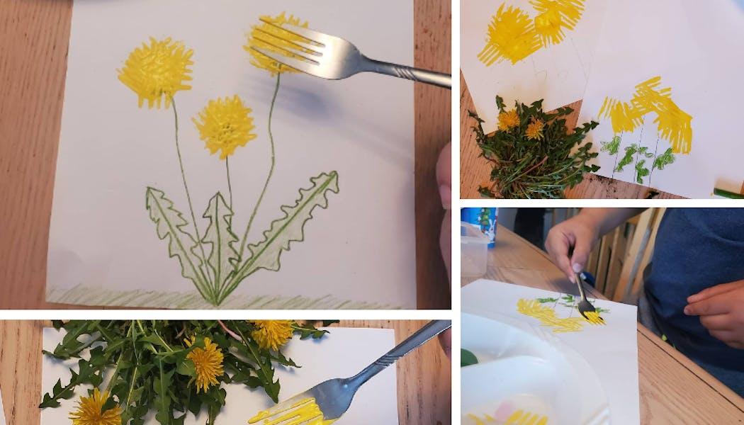pissenlits peints avec une fourchette