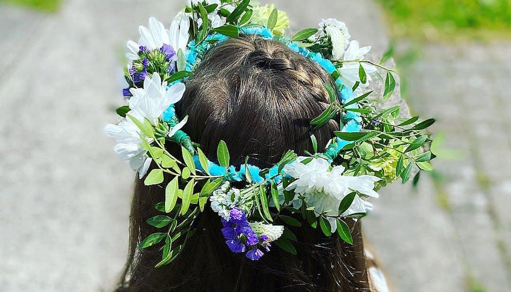 couronne de fleurs d'enfants réalisée pour un mariage