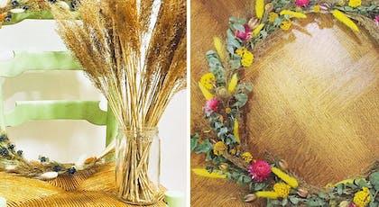 des couronnes avec fleurs séchées