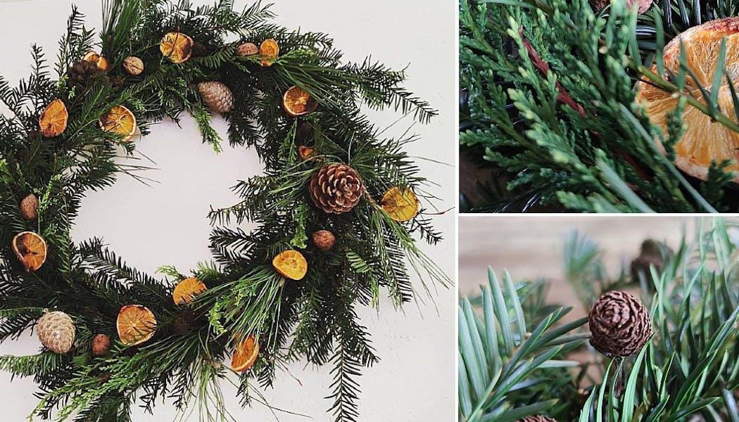 Une couronne de Noël parfumée à l'orange