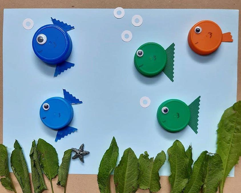 poissons réalisés avec des bouchons