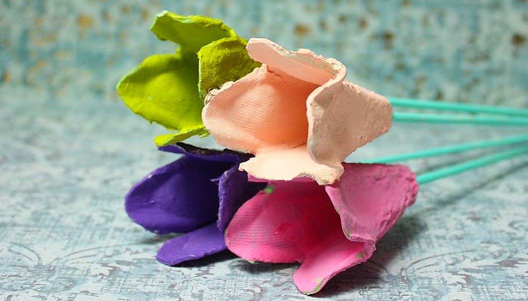 Des fleurs d'été en boîte d'oeufs