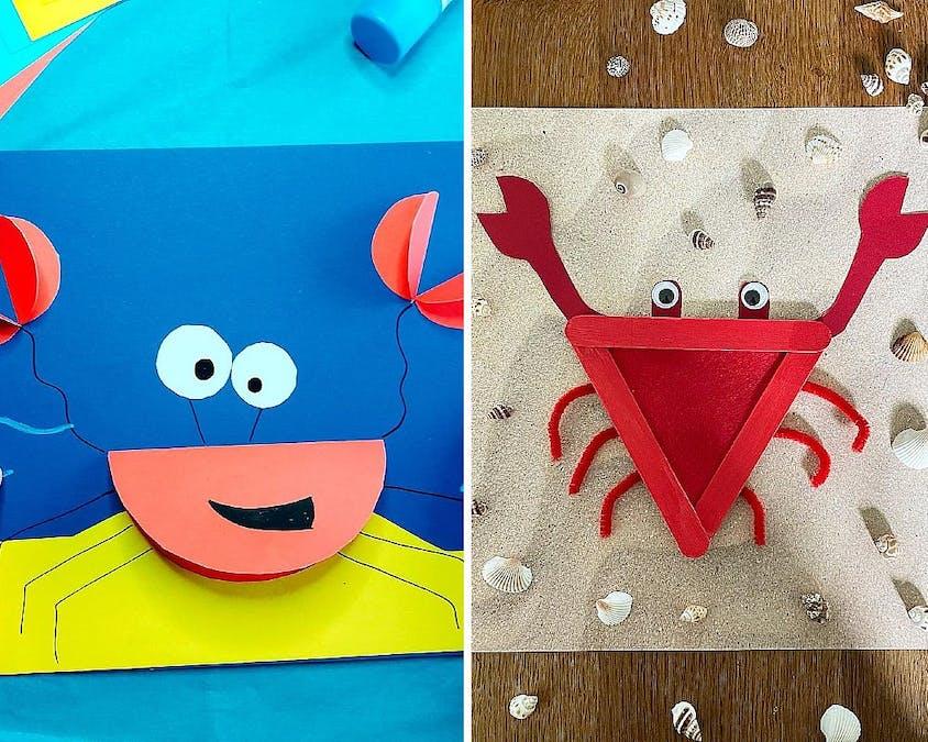 crabes en papier et en bâtonnets de glace
