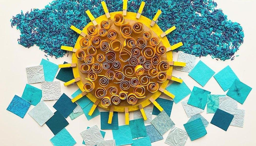 un soleil créée en papier