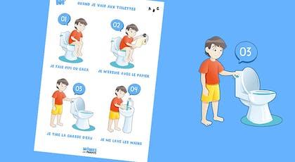 Une affiche rappelant b.a.-ba aux toilettes