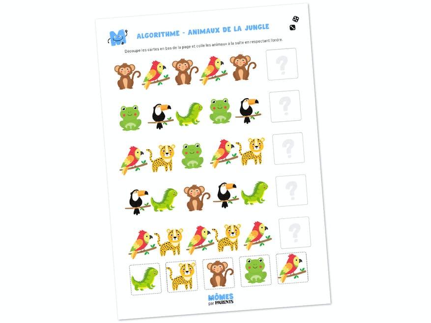 Fiche à imprimer - Algorithmes des animaux de la jungle