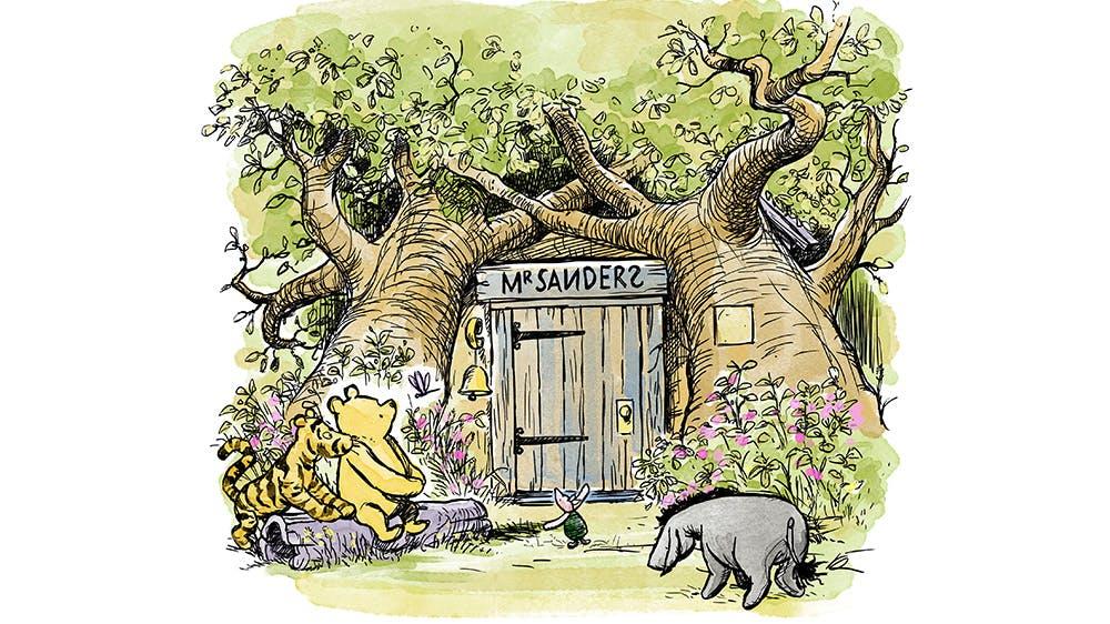 Illustration maison de Winnie l'Ourson par Kim Raymond
