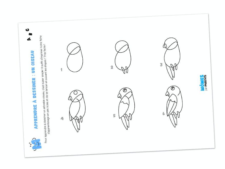 Fiche à imprimer - Apprendre à dessiner : un oiseau