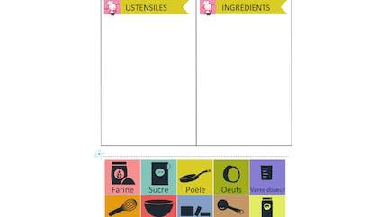 Lecture et compréhension : éléments d'une recette de crêpes