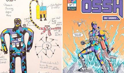 Créés par des enfants, ces super-héros ont été mis en scène par des dessinateurs façon comics