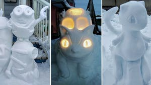 Les personnages de la pop culture version sculptures sur neige