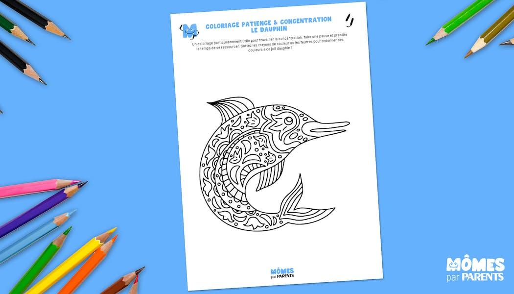 Coloriage patience & concentration : le dauphin