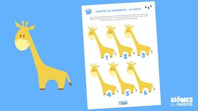 Compter avec les empreintes de doigts - Girafe