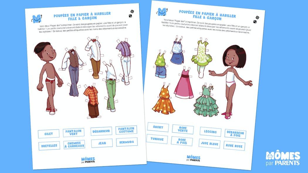 Poupées en papier à habiller : Fille & Garçon