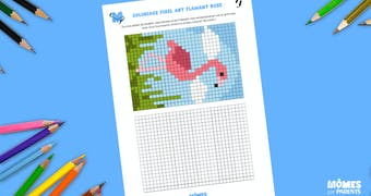 Coloriage Pixel Art Flamant rose