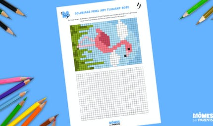Coloriage Pixel Art Flamant rose