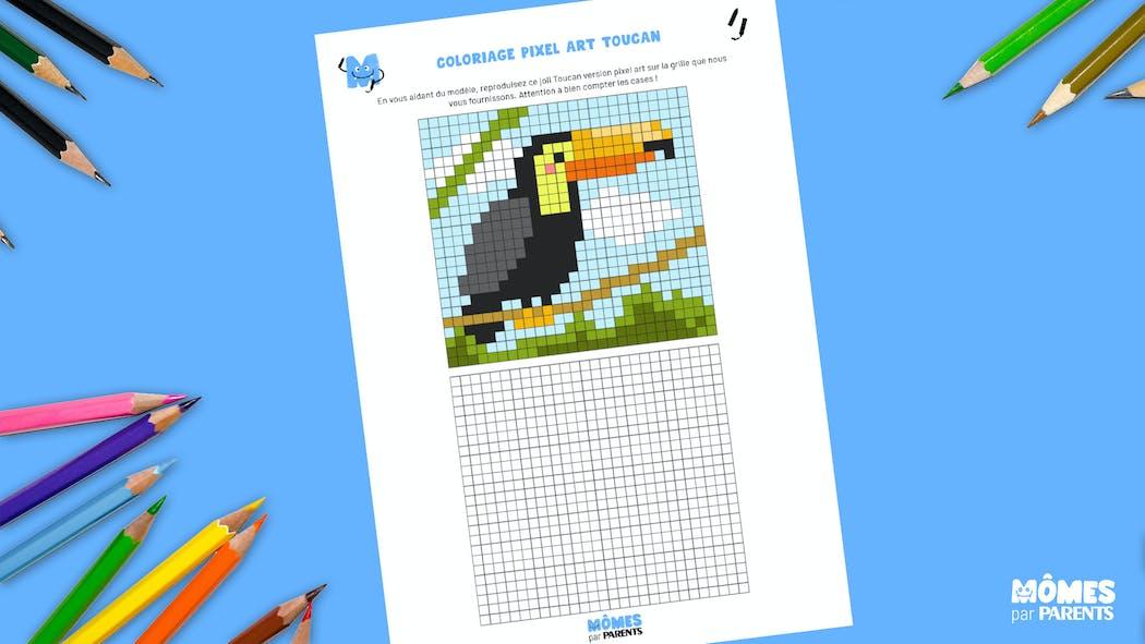 Coloriage Pixel Art Toucan