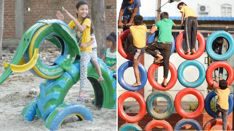 Des aires de jeux pour enfants avec des pneus recyclés par Anthill Creations en Inde