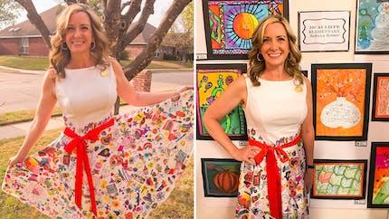 Elle demande à ses élèves de transformer sa robe en une œuvre d'art portable !