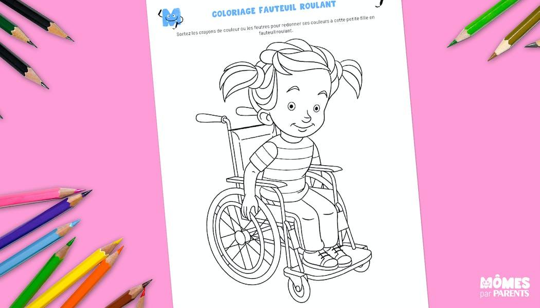 Coloriage enfant en fauteuil roulant