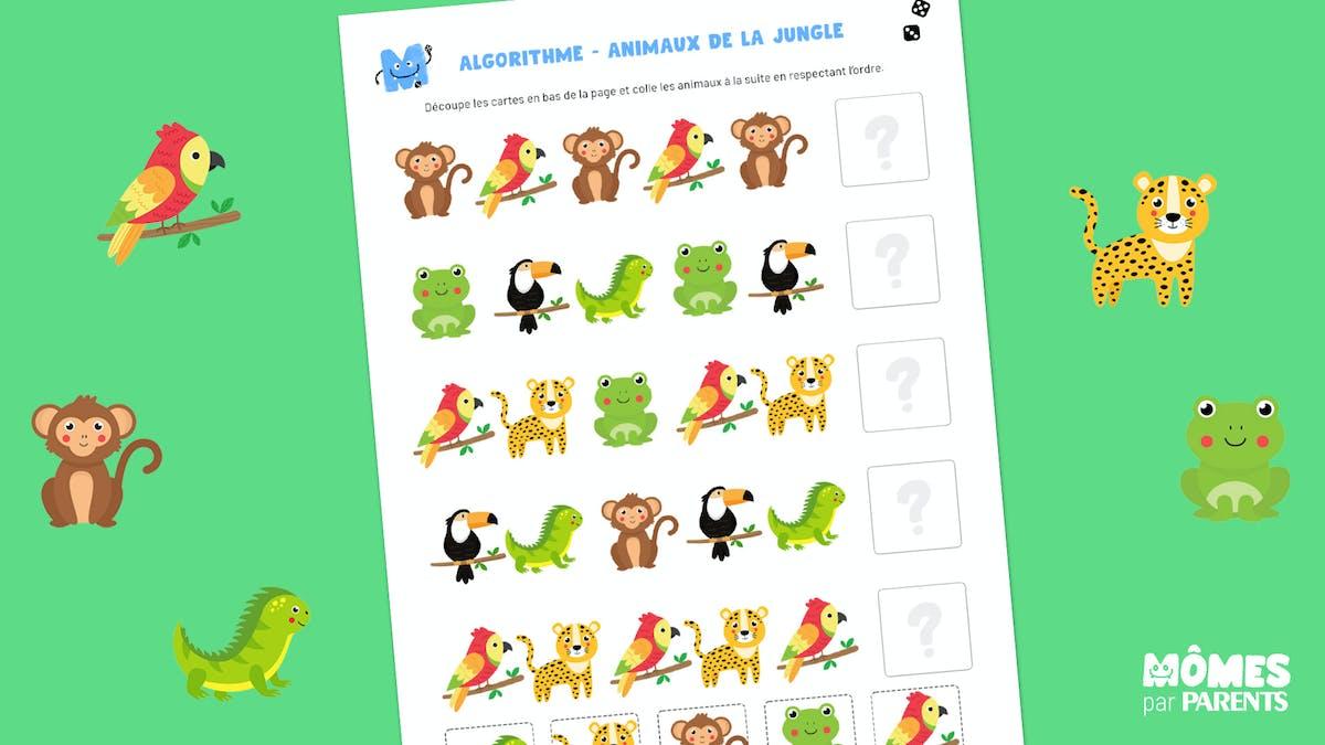 Algorithme des animaux de la jungle à imprimer