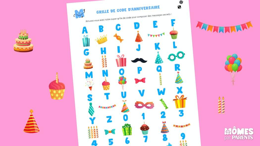 Grille de code secret d'anniversaire
